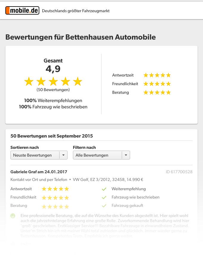 Bewertungen unter mobile.de der Bettenhausen Automobile